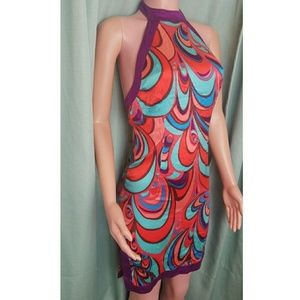Marciano Size Small 100% Silk Retro Halter Dress